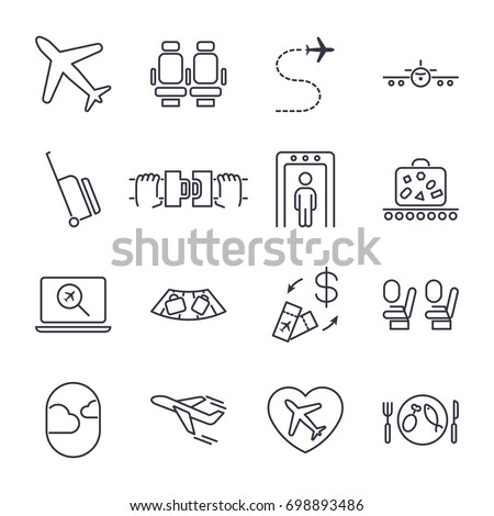 Airport icon set, airport management icons, aerial transportation icons: plane, seat, airway, rechange, suitcase and other. Icon set with editable stroke