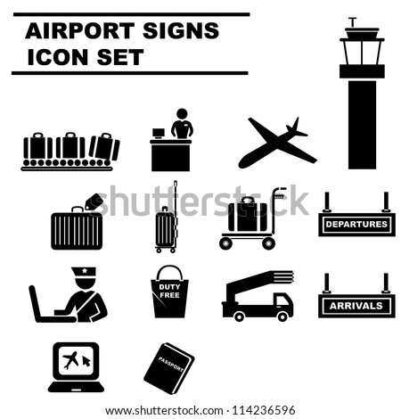 airport icon set, black