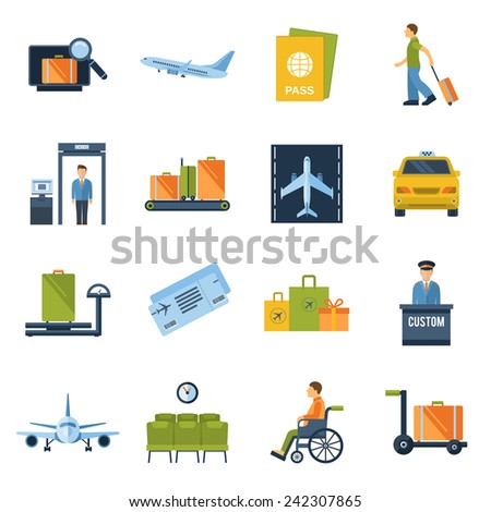 airport icons flat set with