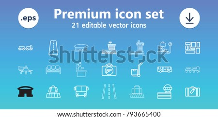 Airport icons. set of 21 editable outline airport icons includes runway, luggage, luggage belt, briefcase with weapon, truck with luggage, cargo on cart, lugagge, sofa, jetway