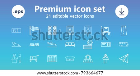 Airport icons. set of 21 editable outline airport icons includes runway, plane landing, luggage belt, luggage, metal gate detector, sofa, ticket, truck with luggage, wind cone