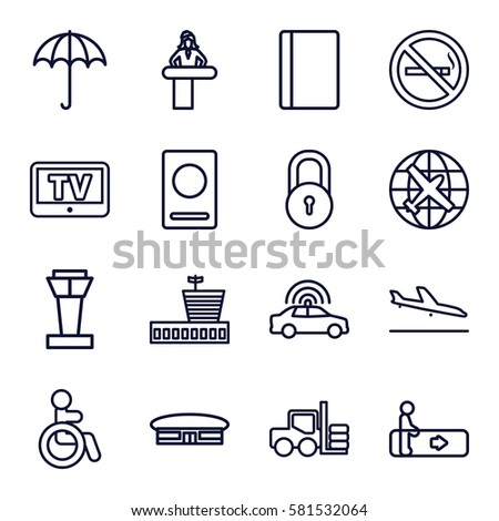 airport icons set set of 16