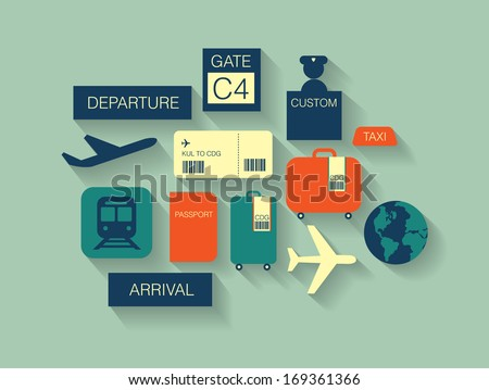 airport icons/ travel icons flat long shadow vector/illustration
