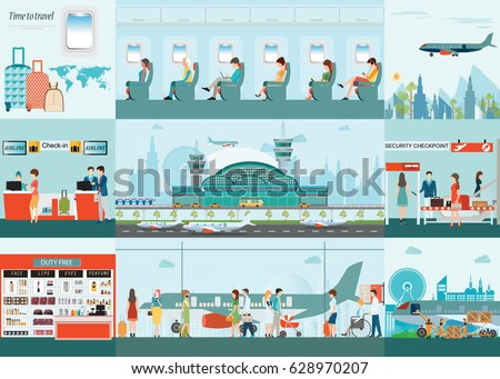 Airport  info graphic of Passenger airline at airport terminal with check in counter and security checkpoint, Airline interior with plane seat on the flight business travel vector illustration.