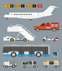 Airport info graphic set with business jet, passenger bus and baggage carts