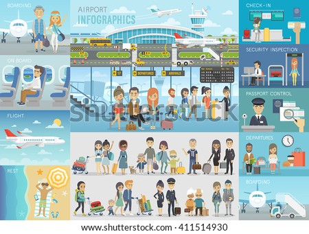 airport infographic set with