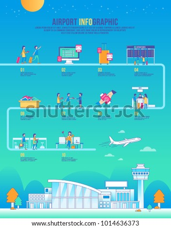 airport infographic travel vector, design building, icon graphic, transport, background modern, landscape, airplane
