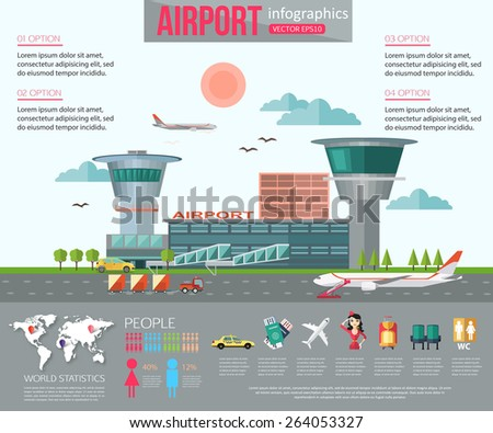 airport infographics with place