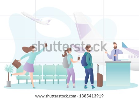 Airport interior and queue of tourists with luggage,male flight attendant behind the check-in counter,last call boarding concept,airplane take off,trendy style vector illustration