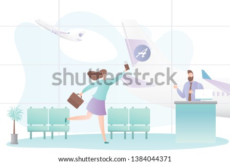 Airport interior and running girl with suitcase,male flight attendant behind the check-in counter,last call boarding concept,airplane take off,trendy style vector illustration
