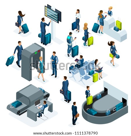 Airport isometric icons set of reception and passport check desk, waiting room, transit area, passengers are waiting for boarding, business trip isolated vector