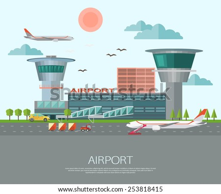 Airport landscape with place for text. Flat style design. Vector illustration.