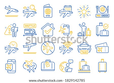 Airport line icons. Boarding pass, Baggage claim, Arrival and Departure. Connecting flight, tickets, pre-order food icons. Passport control, airport baggage carousel, inflight wifi. Vector ストックフォト ©
