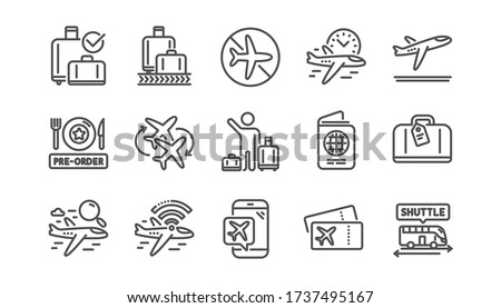 Airport line icons set. Boarding pass, Baggage claim, Departure. Connecting flight, tickets, pre-order food icons. Passport control, airport baggage carousel, inflight wifi. Linear set. Vector ストックフォト ©