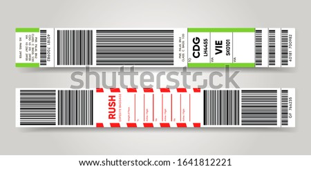 Airport luggage barcode sticker. Baggage information and identification tape mockup. Travel transportation bar code. Airline control. Vector illustration template.