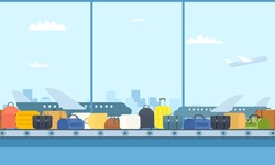 Airport luggage conveyor belt. Cartoon image