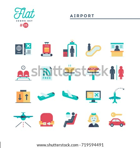 Airport, luggage scanning, flight, rent a car and more, flat icons set, vector illustration