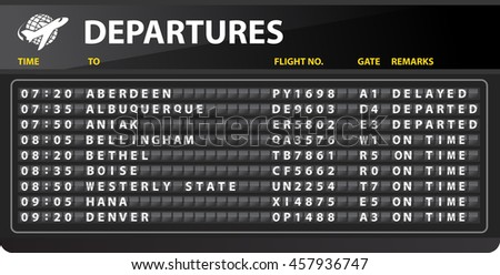 Airport mechanical time table departures - Travel Conceptual