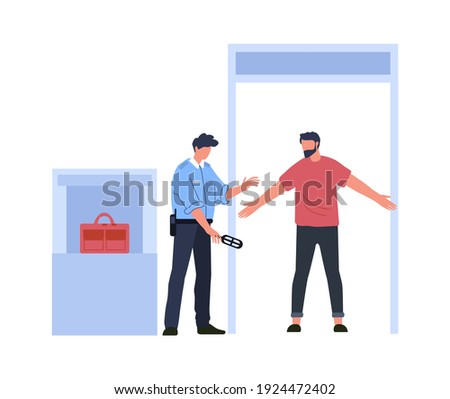 Airport metal detector frame, security control concept. Vector detector control scanner frame, airport security inspection checkpoint illustration Stockfoto ©