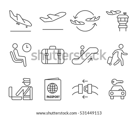 Airport navigation thin icons set // Black & White