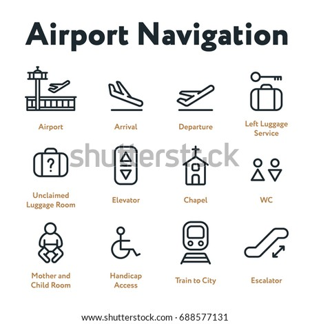 Airport Navigation Wayfinding Minimal Flat Line Outline Stroke Icon Set. Arrival, Departure, Elevator, Escalator, Chapel, Mother and Child Room.