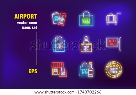 Airport neon signs set. Duty free market, plane tickets, luggage service, check in desk. Night bright advertising. Vector illustration in neon style for banners, posters, travel flyers design