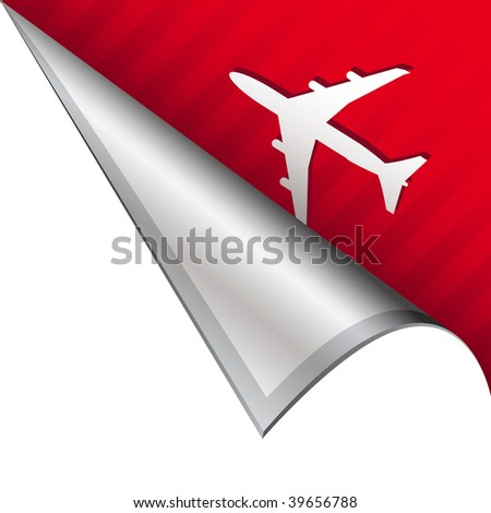 Airport or airplane icon on vector peeled corner tab suitable for use in print, on websites, or in advertising materials.