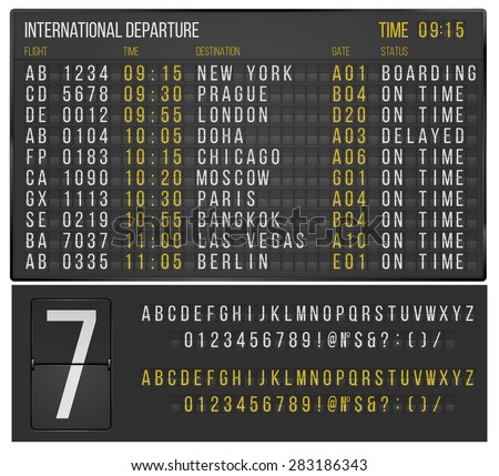 Airport or railroad realistic  scoreboard with flip symbols. Vector template