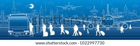 Airport panorama. Passengers go to the bus. Aviation travel transportation infrastructure. The plane is on the runway. Night city on background, vector design art