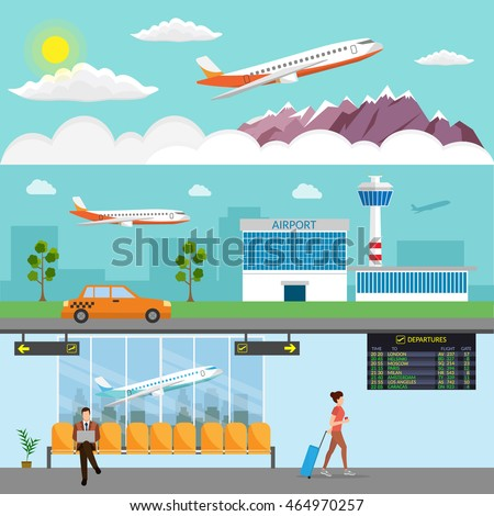 Airport passenger terminal and waiting room. International arrival and departures background vector illustration