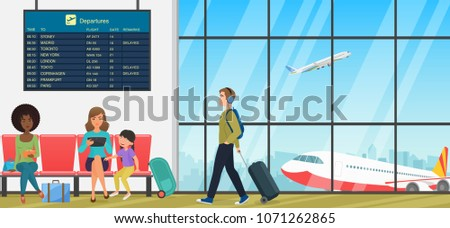 Airport passenger terminal with waiting room with chairs and people travellers. International arrival and departures interior flat vector illustration.