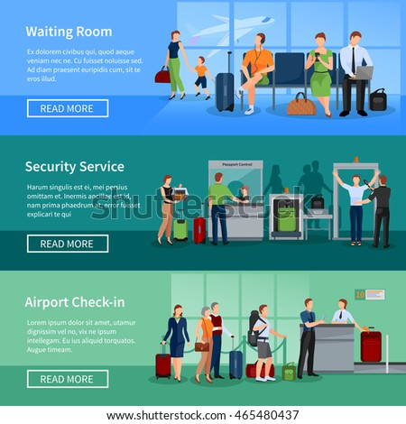 Airport people flat horizontal banners set of passengers in waiting room security screening and registration service vector illustration