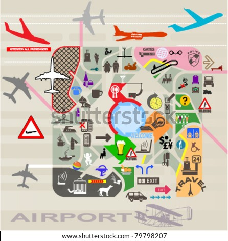airport poster with set of