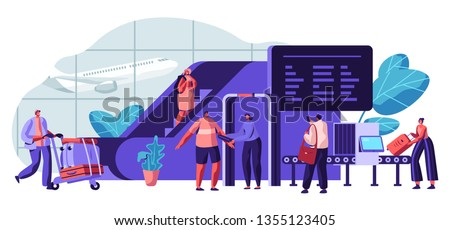 Airport Security. Police Department Screening Traveler by Metal Detectors or Millimeter Wave Scanner for Protection Passenger. Character Transport Baggage for Check. Flat Cartoon Vector Illustration