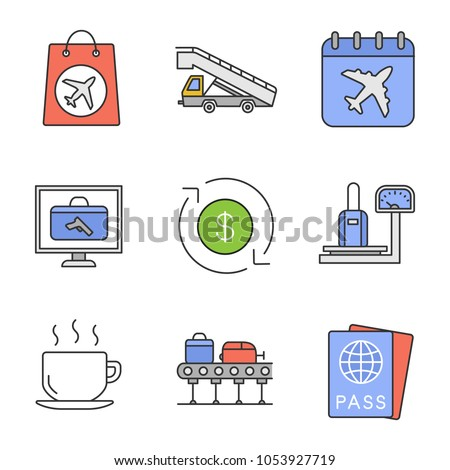 Airport service color icons set. Duty free, stair truck, flight date, baggage scanner and scales, refund, hot drink, luggage carousel, passport. Isolated vector illustrations
