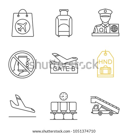 airport service linear icons