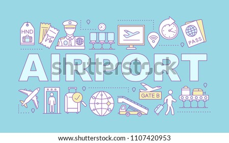 Airport service word concepts banner. Passport control, baggage check, tickets, flights management. Isolated lettering typography idea with linear icons. Vector outline illustration