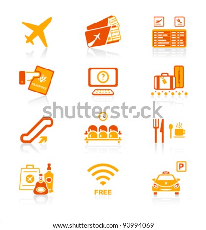 Airport services and objects icon-set in red-orange