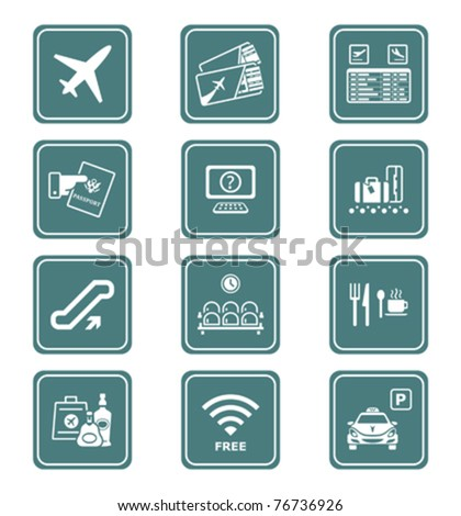 Airport services and objects teal contour icon-set