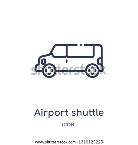 airport shuttle icon from transportation outline collection. Thin line airport shuttle icon isolated on white background.