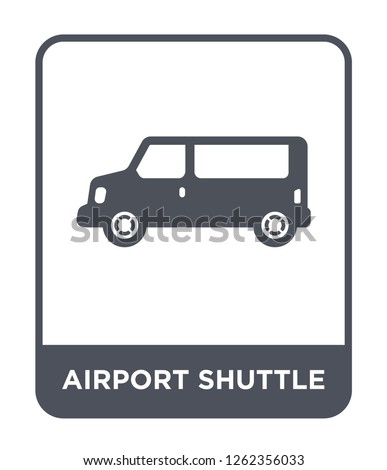 airport shuttle icon vector on white background, airport shuttle trendy filled icons from Transportation collection, airport shuttle simple element illustration