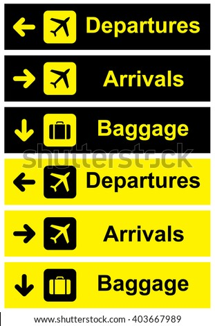 Airport Sign set . Vector illustration