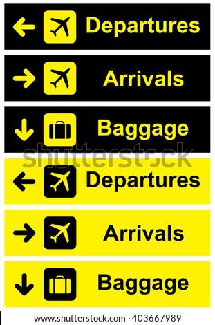 Airport Sign set . Vector illustration