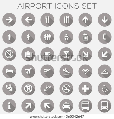 Airport Signage Icons Set - vector eps10