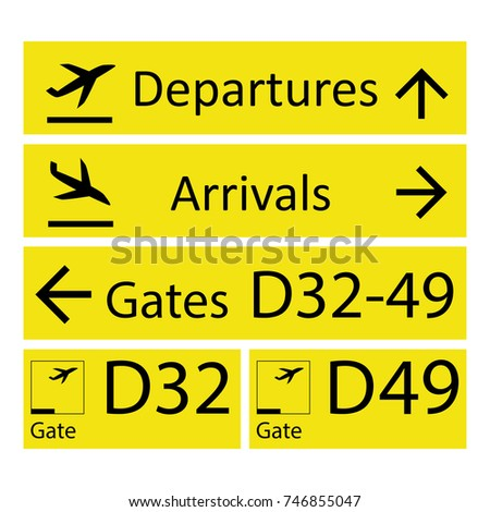 Airport Signs,isolated on white background,vector illustration