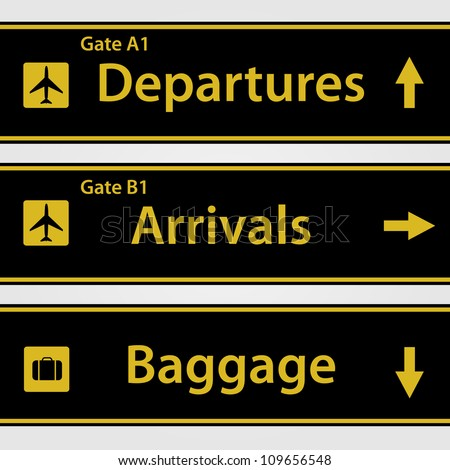 Airport Signs Vector Illustration