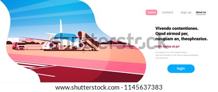 Airport terminal aircraft flying plane taking off waiting to board passengers flat horizontal banner copy space vector illustration