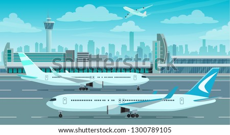 Airport Terminal building and airplanes on runway, city landscape on background, vector illustration