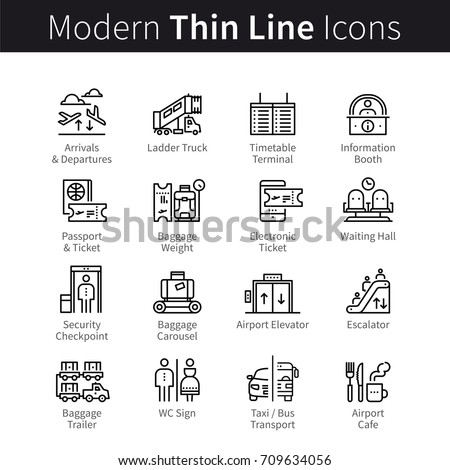 Airport terminal navigation pictogram set. Signage systems signs: plane, check-in, passenger service, baggage, air traveling. Modern thin line art icons. Linear style illustrations isolated on white.