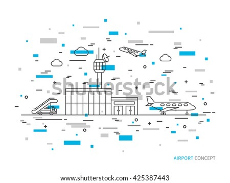 Airport (terminal, plane, transportation) linear vector illustration. Airport creative graphic concept. Colorful airport graphic design.